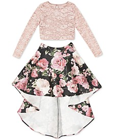 Big Girls 2-Pc. Lace Top & High-Low Skirt Set
