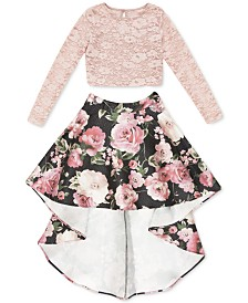 Speechless Big Girls 2-Pc. Lace Top & High-Low Skirt Set