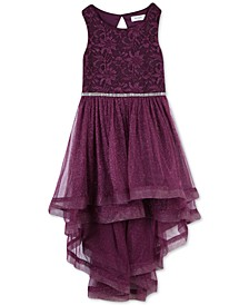 Big Girls Plus Size Glitter-Mesh High-Low Dress