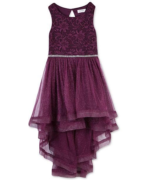 Big Girls Plus Size Glitter-Mesh High-Low Dress