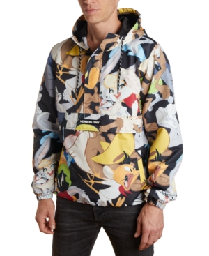 80s Windbreakers, Jackets, Coats Members Only Mens Looney Tunes Character Mash Print Popover Jacket $140.00 AT vintagedancer.com