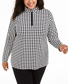 Plus Size Printed Zip-Front Top, Created For Macy's