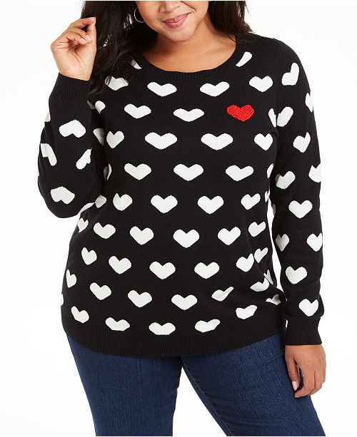 Charter Club Plus Size Heart-Print Sweater, Created for Macy's