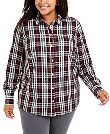 Plus Size Ilanna Cotton Plaid Button-Up Shirt, Created For Macy's