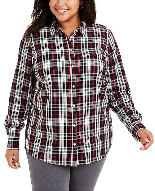 Charter Club Plus Size Ilanna Cotton Plaid Button-Up Shirt, Created for Macy's