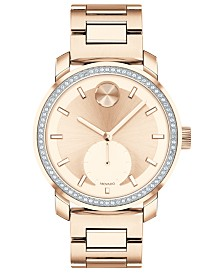 Movado Women's Swiss BOLD Carnation Gold-Tone Stainless Steel Bracelet Watch 36mm