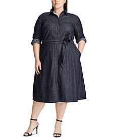 Plus Size Denim Shirtdress