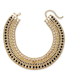 "INC Gold-Tone Crystal, Stone & Imitation Pearl Statement Collar Necklace, 17"" + 3"" extender, Created For Macy's"