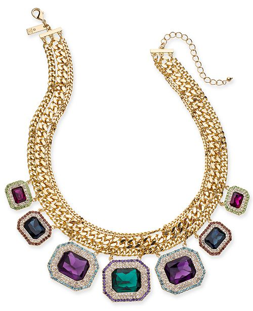 """INC International Concepts INC Gold-Tone Pavé & Stone Multi-Chain Statement Necklace, 17-1/2"""" + 3"""" extender, Created For Macy's"""