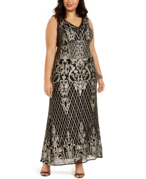 Vintage 1920s Dresses – Where to Buy R  M Richards Plus Size Gold-Tone Sequin Gown $159.00 AT vintagedancer.com