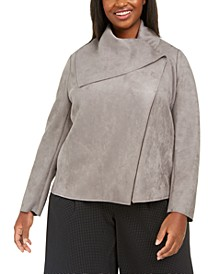 Plus Size Asymmetrical Wrap Jacket