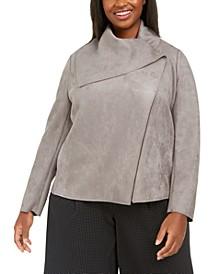 Plus Size Faux-Suede Asymmetrical Jacket
