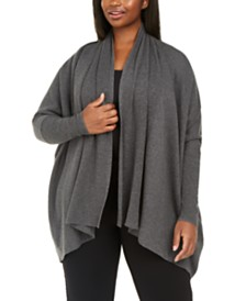 Anne Klein Plus Size Over-Sized Open-Front Cardigan