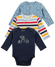 Baby Boy 3-Pack Long Sleeve Bodysuits