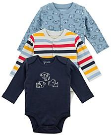 Baby Boy 3-Pack Long Sleeve Bodysuits