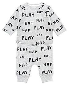 Baby Boy and Girl 2-Piece Eat, Play, Nap Long Sleeve Tee and Pant Outfit Set