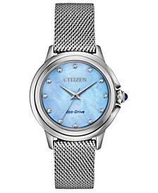 Eco-Drive Women's Ceci Diamond-Accent Stainless Steel Mesh Bracelet Watch 32mm
