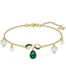 Gold-Tone Crystal & Imitation Pearl Bow Link Bracelet