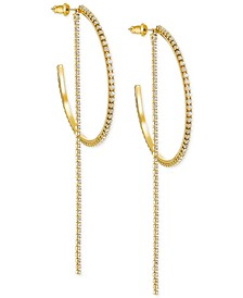 Extra Large Gold-Tone Crystal Chain & Hoop Convertible Earrings 4-1/4""