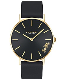 COACH Women's Perry Black Leather Strap Watch 36mm