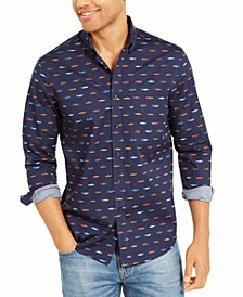 Men's Regular-Fit Performance Stretch Fish-Print Shirt, Created For Macy's