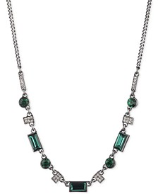 "Hematite-Tone Green Stone Frontal Necklace, 16"" + 3"" extender"