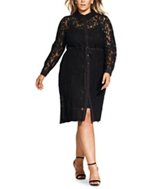 City Chic Trendy Plus Size Noble Lace Shirtdress