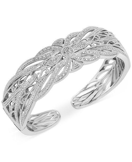 Macy's Diamond Filigree Openwork Cuff Bracelet (1/3 ct. t.w.) in Sterling Silver