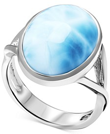 Larimar (12 x 16mm) Oval Statement Ring in Sterling Silver
