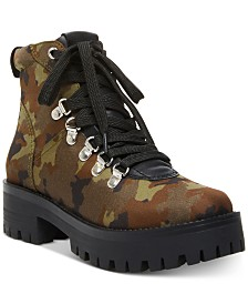 Steve Madden Women's Bumper Lace-Up Hiker Booties