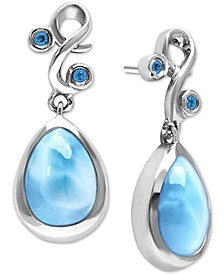Larimar (8 x 13mm) & Blue Spinel (1/6 ct. t.w.) Drop Earrings in Sterling Silver