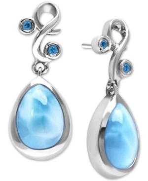 Larimar (8 x 13mm) & Blue Spinel (1/6 ct. t.w.) Drop Earrings in Sterling Silver