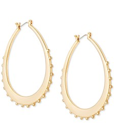 """Large Gold-Tone Spiked Oval Hoop Earrings 2-1/4"""""""