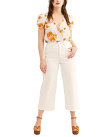 Free People CRVY Lace-Up Crop Jeans