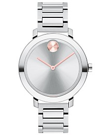 Movado Women's Evolution Swiss Bold Stainless Steel Bracelet Watch 38mm