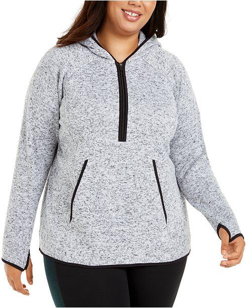 Ideology Plus Size 1/2-Zip Fleece Hoodie Jacket, Created For Macy's
