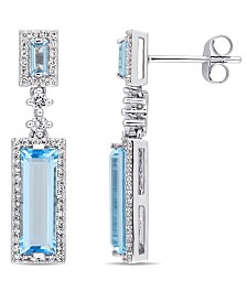 Baguette Cut Blue Topaz (4-1/5 ct. t.w.) and Diamond (1/3 ct. t.w.) Drop Earrings in 14k White Gold