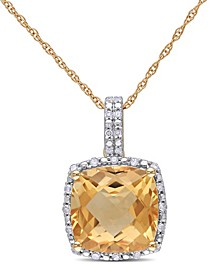 "Cushion Cut Citrine (4 ct. t.w.) and Diamond (1/10 ct. t.w.) Halo 17"" Necklace in 10k Yellow Gold"