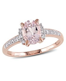 Morganite (1-1/7 ct. t.w.) and Diamond (1/20 ct. t.w.) Ring in 18k Rose Gold Over Sterling Silver