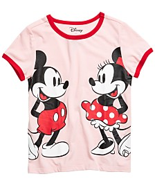 Disney Big Girls Mickey & Minnie Mouse Ringer T-Shirt