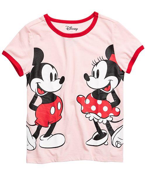 Disney Big Girls Mickey & Minnie Mouse Ringer T-Shirt