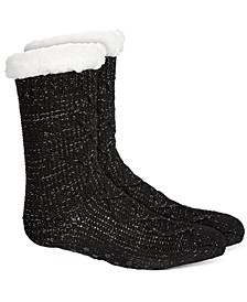 Women's Slipper Socks With Faux-Sherpa Lining, Created For Macy's