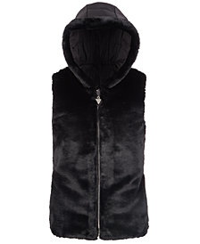 GUESS Big Girls Hooded Faux-Fur Puffer Vest