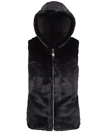 GUESS Big Girls Hooded Faux-Fur Puffer Vest