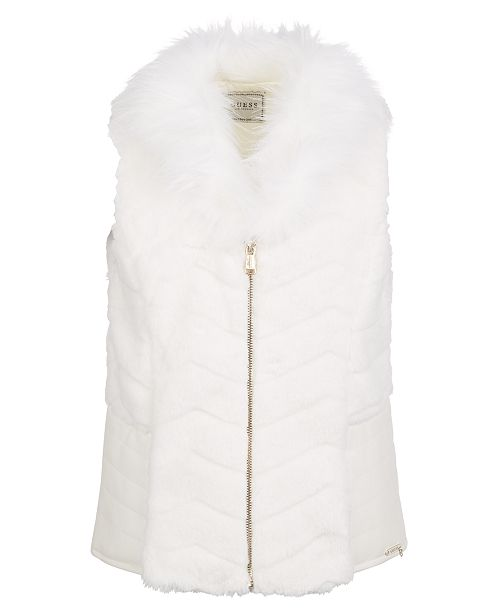 GUESS Big Girls Faux-Fur & Faux-Leather Vest