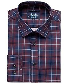of London Men's Slim-Fit Stretch Plaid Dress Shirt