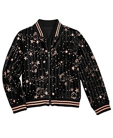 Little Girls Glitter-Print Bomber Jacket