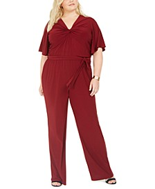 Plus Size Flutter-Sleeve Jumpsuit