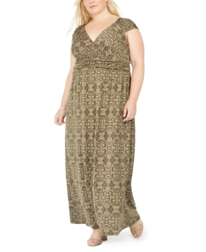 Vintage 1920s Dresses – Where to Buy Ny Collection Plus Size Floral-Print Empire-Waist Maxi Dress $52.50 AT vintagedancer.com