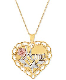 """Mama Scalloped Heart 18"""" Pendant Necklace in 14k Gold, White Gold & Rose Gold"""